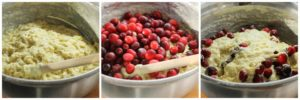 Buttermilk Cranberry Muffins - Mixing batter and adding fruit.