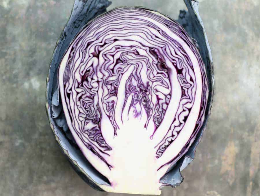 a head of red cabbage cut in half with the cut side facing the camera