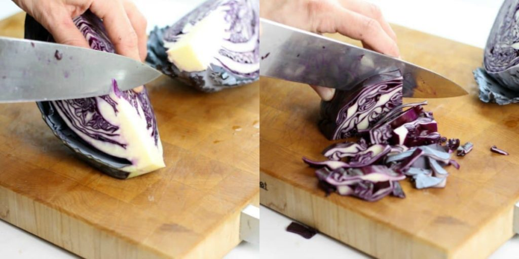 showing how to cut the core out of a red cabbage and then slice it in preparation for braising.