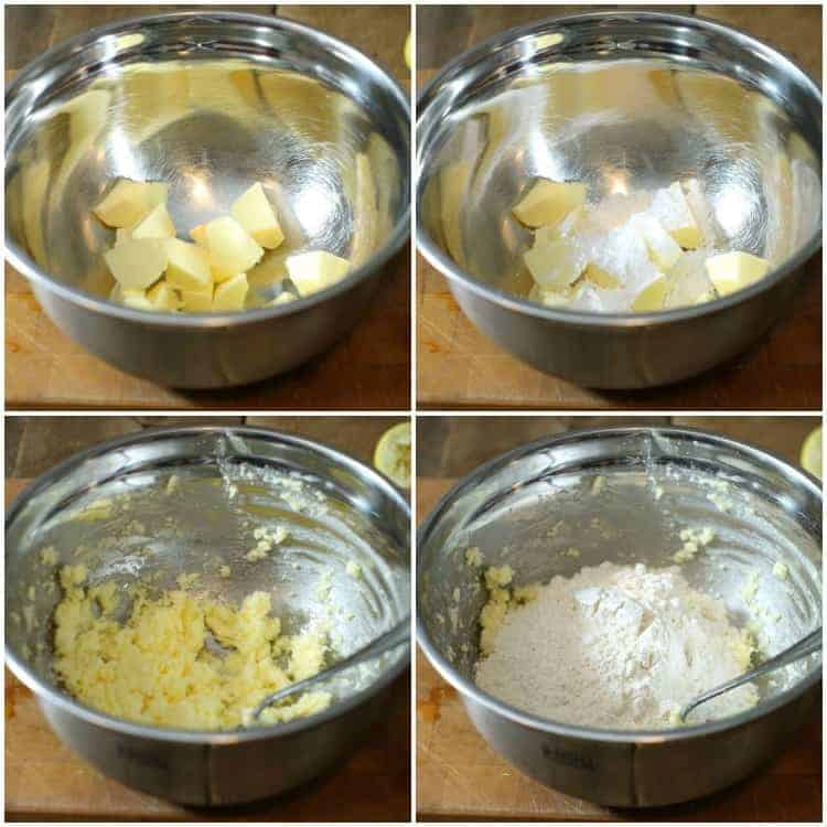 a series of images showing how to mix shortbread dough
