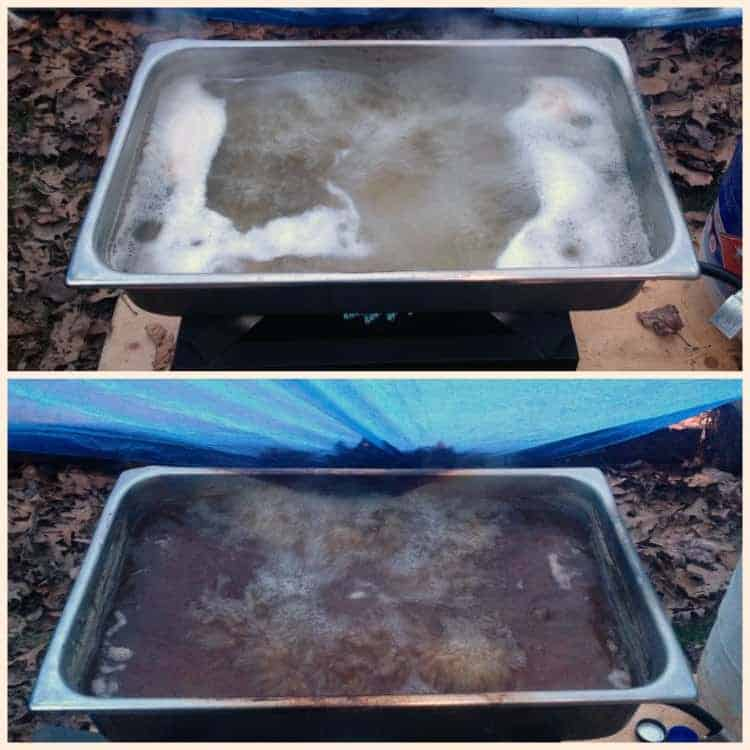 collage of  various stages of maple sap in a large pan cooking down.