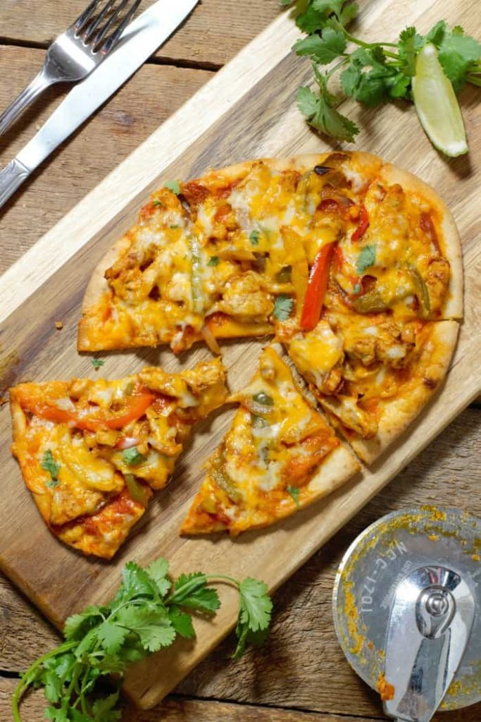 fully cooked chicken fajita naan pizza