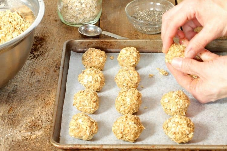 forming peanut butter energy balls by hand
