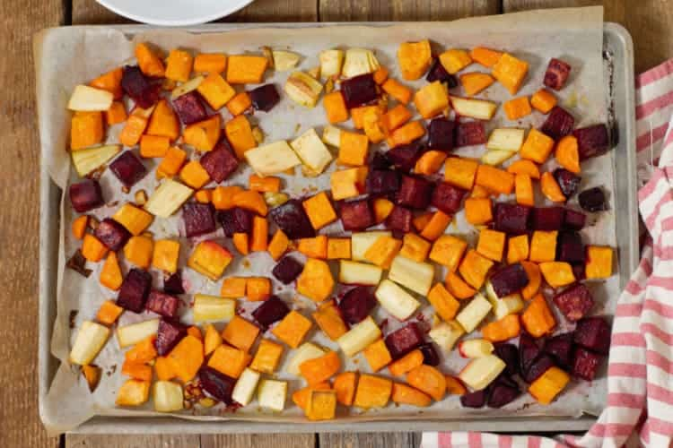 ove roasted root vegetables fresh from the oven